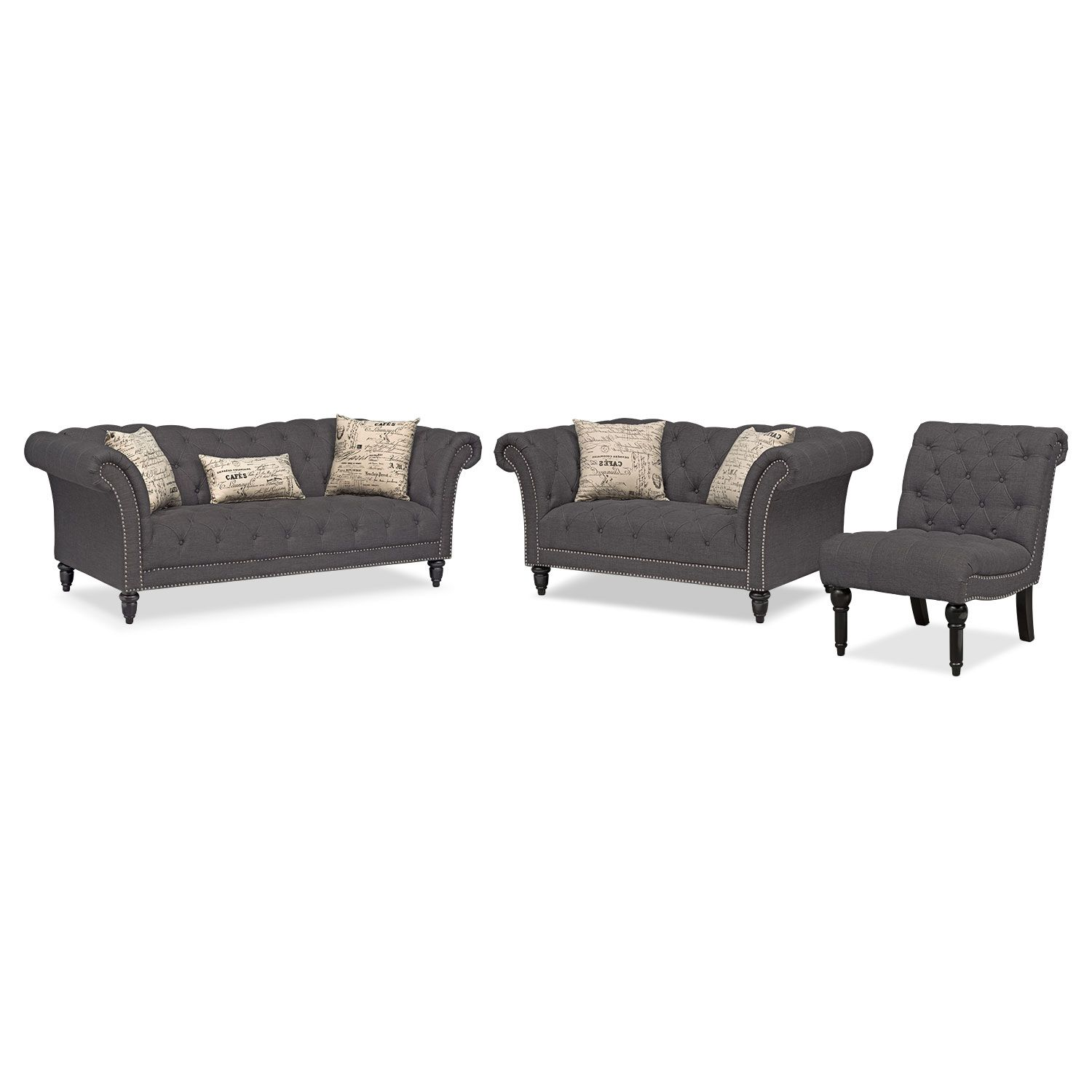 living room furniture marisol sofa loveseat and armless chair set charcoal
