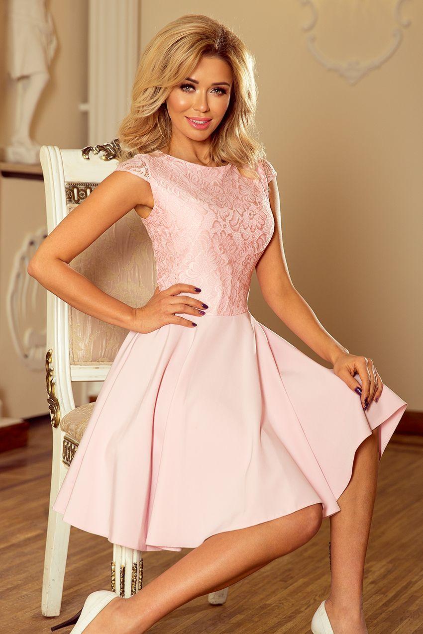 b01dfbf54b193d Rozkloszowana sukienka z koronką w kolorze pastelowego różu - idealna na  wesele, chrzciny, komunie i urodziny ;D www.numoco.com