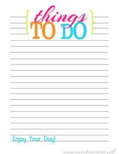 printable things to do lists