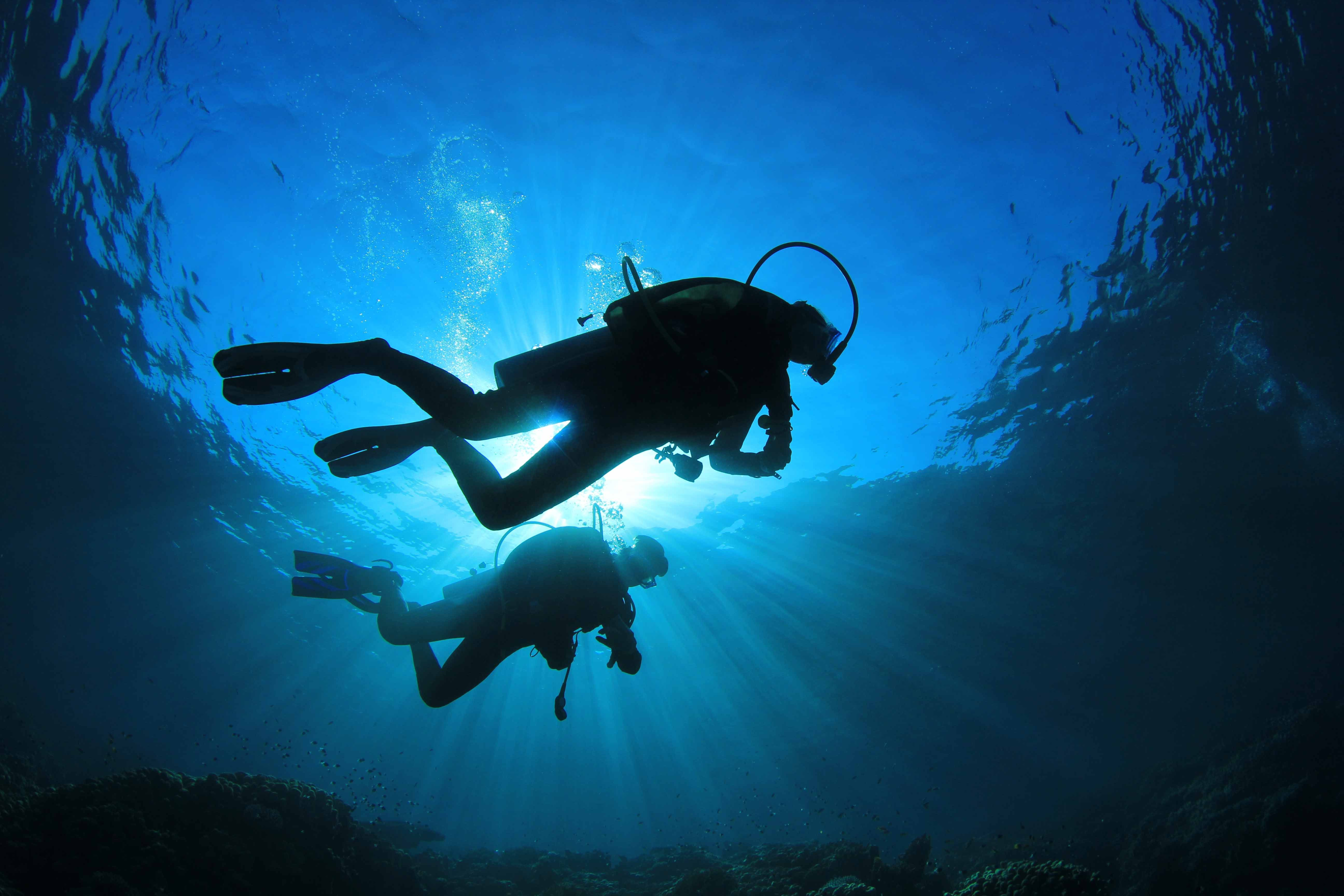 Two scuba divers silhouettes against sunburst in the ocean if you are someone who enjoys scuba diving then you must have considered the thought of diving in the night night scuba diving is a more challenging than xflitez Images