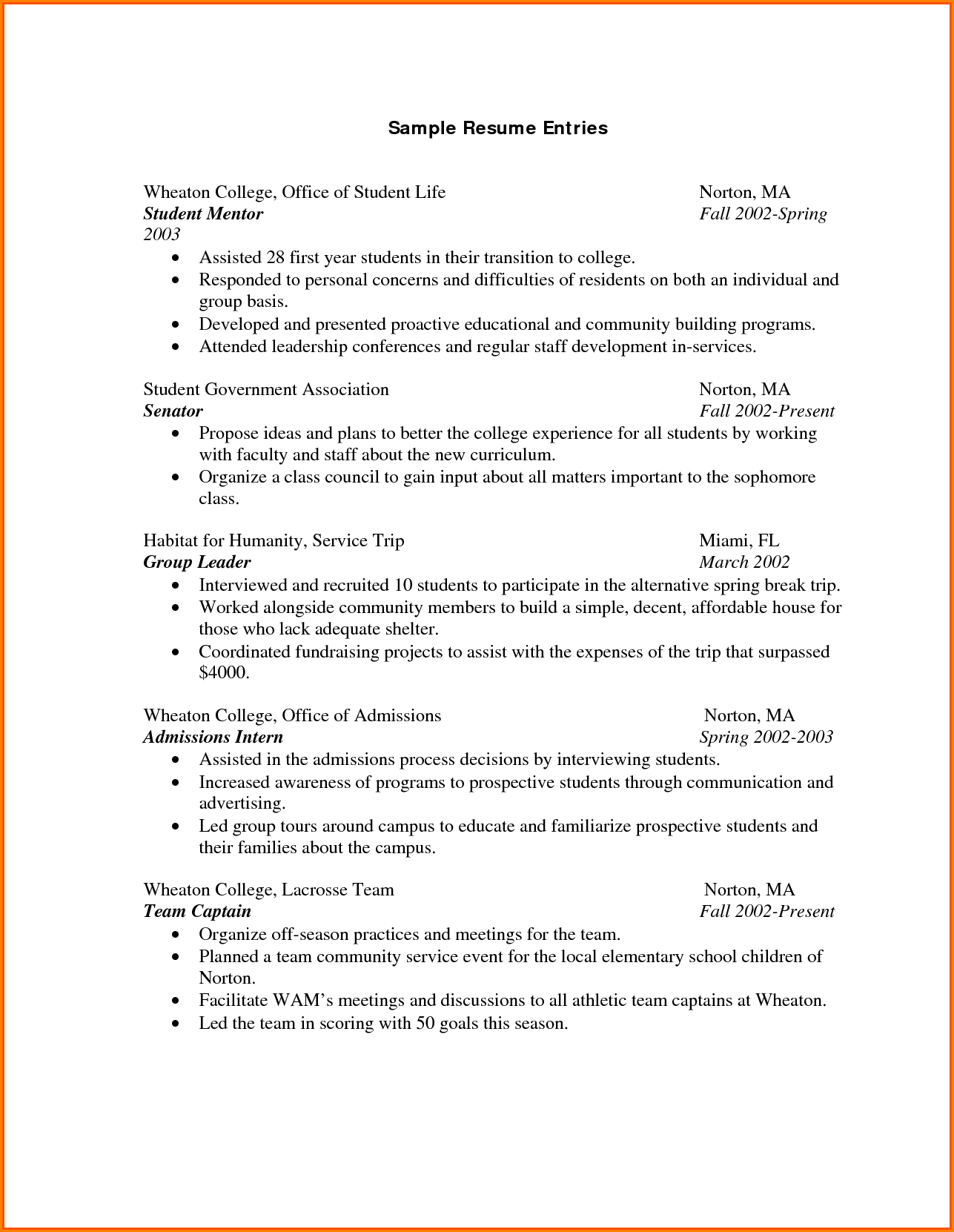 Ojt Resume Personal Information Hrm Examples Resumes Good Example College  Student For Sample