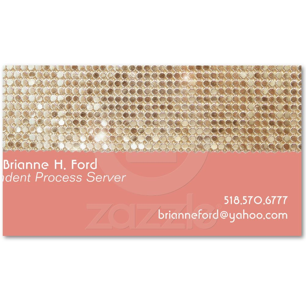 Cute FAUX Sparkly Gold Sequins Peach Business Card | Business ...