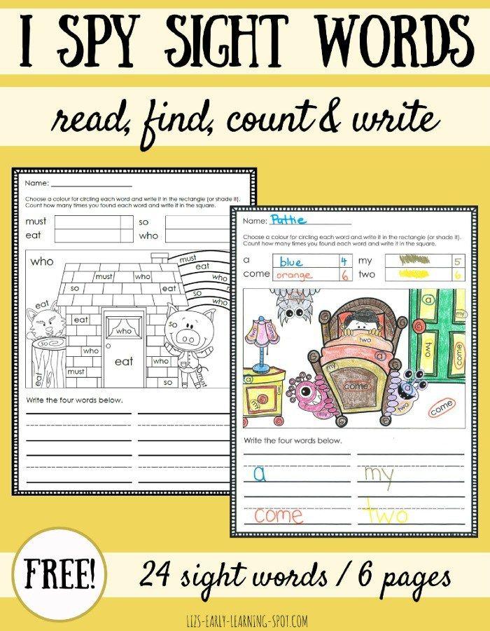 I Spy Sight Words Coloring Sheets | Para niños