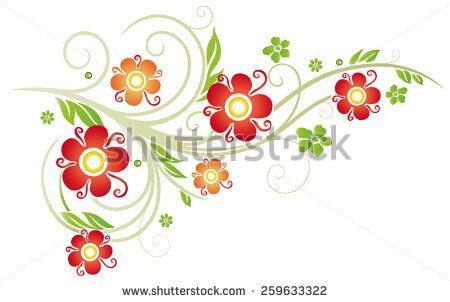 Colorful vintage flowers, spring time border