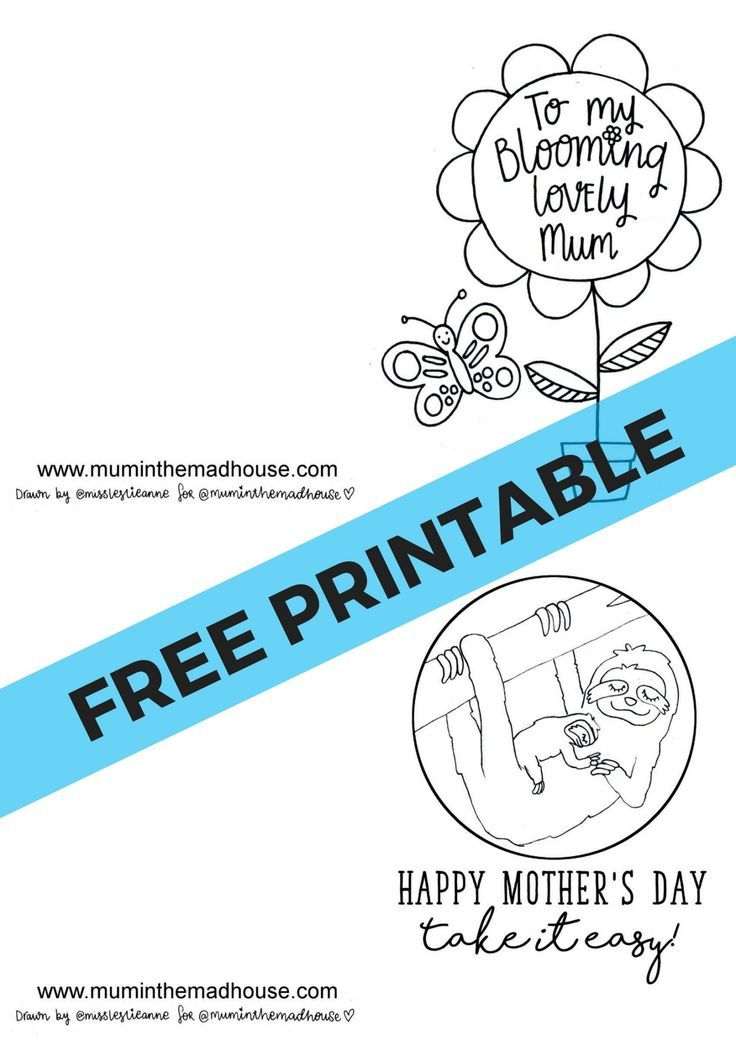 Free Printable Mother\'s Day Cards to Colour | Pinterest | Free ...