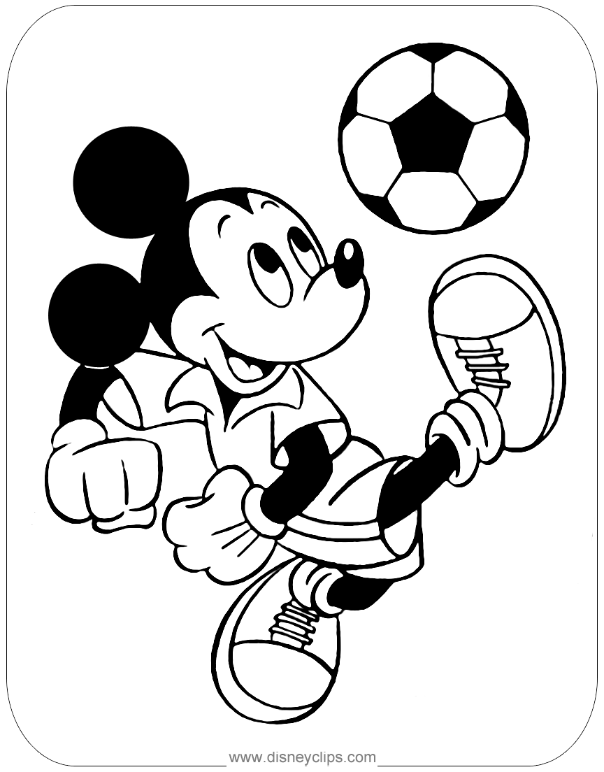 #mickeymouse playing soccer coloring page | Coloring Pages ...