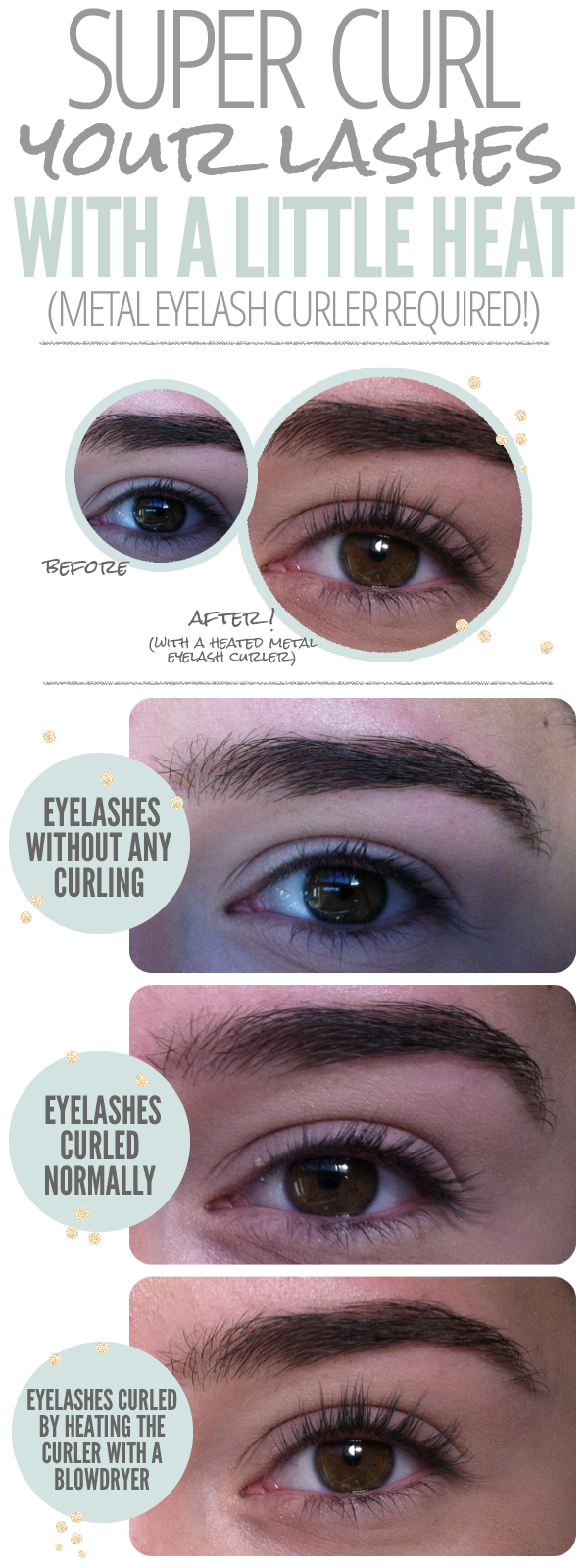 heated eyelash curler results. super curl your lashes \u003e\u003e heat eyelash curler with blowdryer because my eyelashes are, like, nonexistent without a lot of help! heated results r