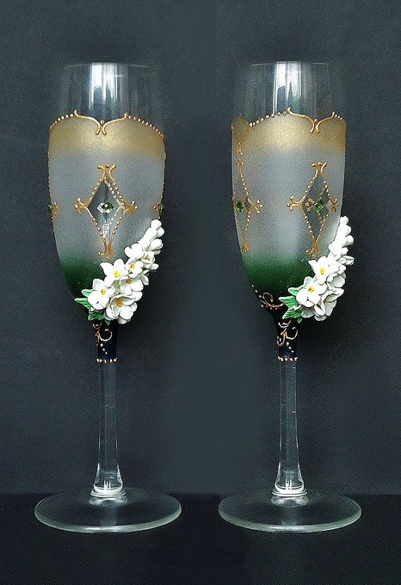 Spring Wedding Champagne Gles Toasting Flutes By Joliefleurdeco