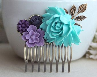 Blue, Lavender, Purple, Amethyst, Egg Plant Purple Flowers Brass Hair Comb. Bridesmaid Gifts. Purple Blue Wedding. Bridal Wedding
