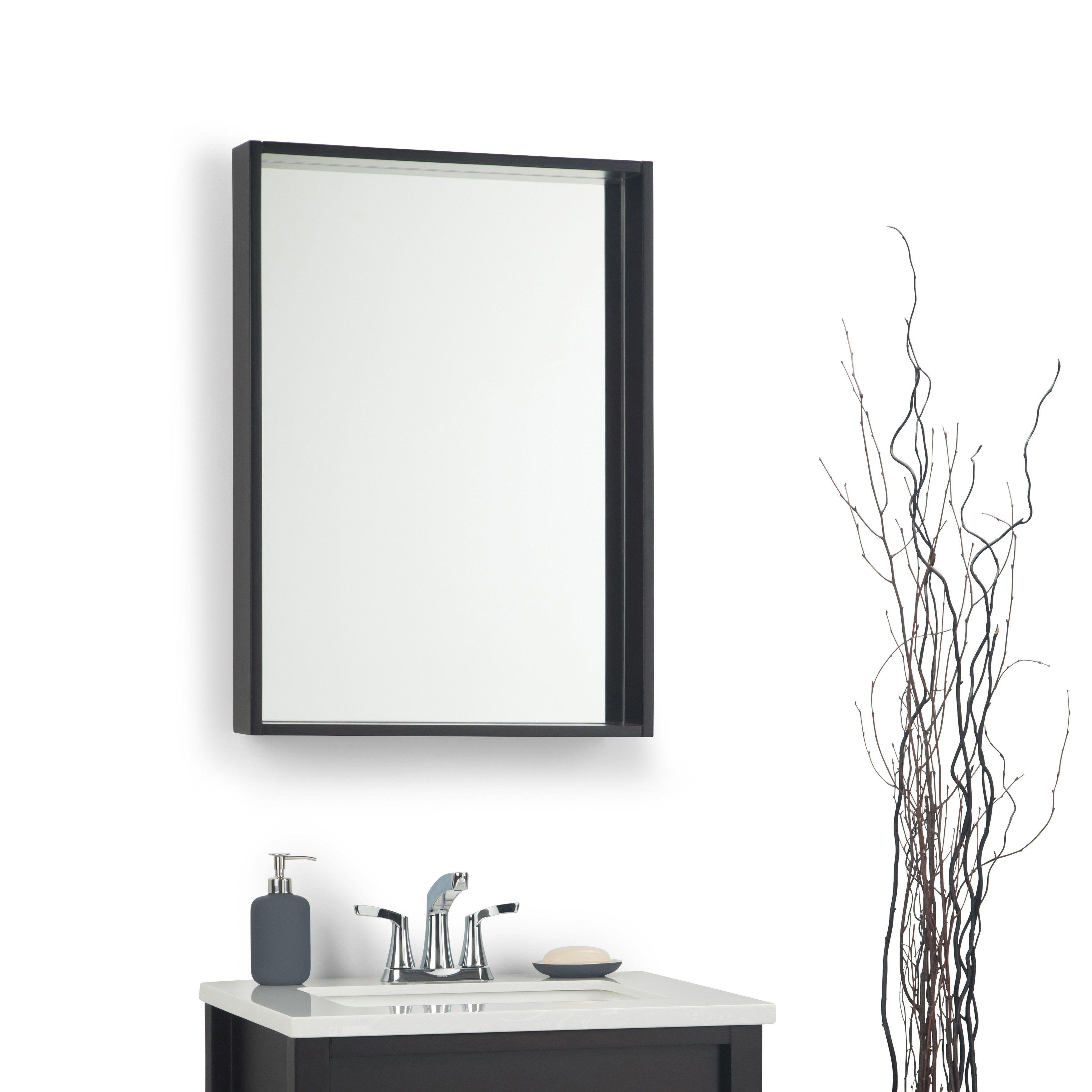 Carbon Loft Mel Modern Box Frame Mirror Bathroom Vanity Dark Walnut Modern Contemporary Dark Brown Bathroom Vanity Mirror Mirror Wall Mounted Mirror