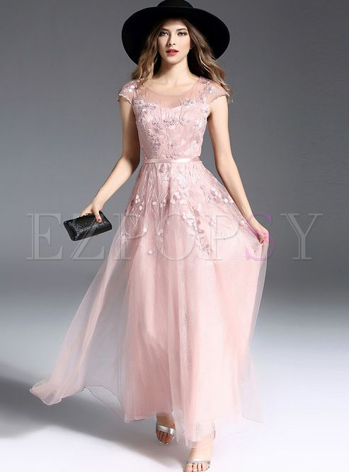 ac6e4bc1550 Shop for high quality Elegant High Waist Mesh Slim Maxi Dress online at  cheap prices and discover fashion at Ezpopsy.com
