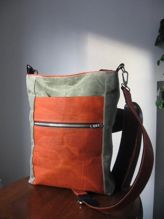 9416884a5d5f97 Waxed Canvas Crossbody Bag, Mens Canvas Bag, Unisex Handbag, Mens Crossbody  Bag, Shoulder Bag, Waxed