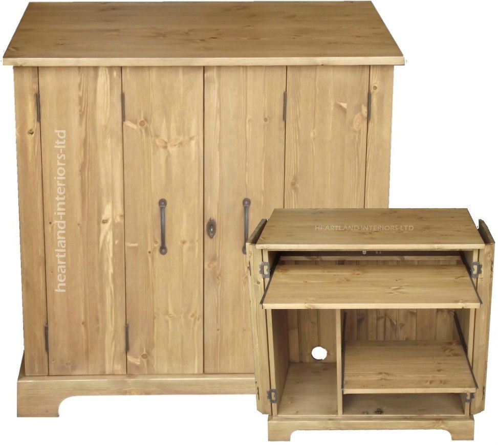 Solid Pine Desk,Tri-Folding Hideaway Workstation Desk
