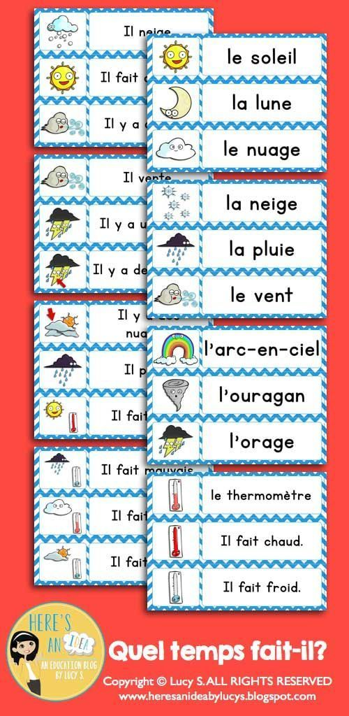 French Quel Temps Fait Il What S The Weather Like Francais Learn French French Flashcards Learning French For Kids
