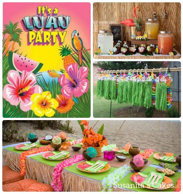 Ideas para una fiesta con tema Luau!..en colores naranja, verde ...
