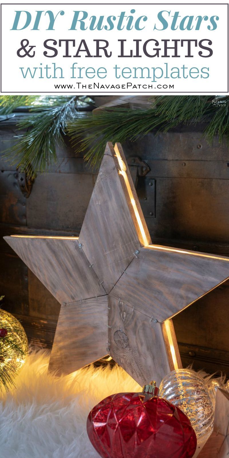 DIY Rustic Wood Star Lights (with Free Star Template in