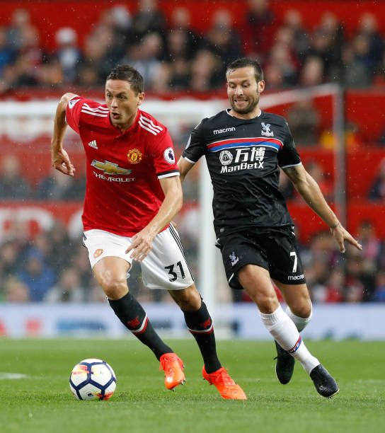 Manchester United S Nemanja Matic And Crystal Palace S Yohan Cabaye Battle For The Ball During The Premier League Match At Old Trafford Manchester