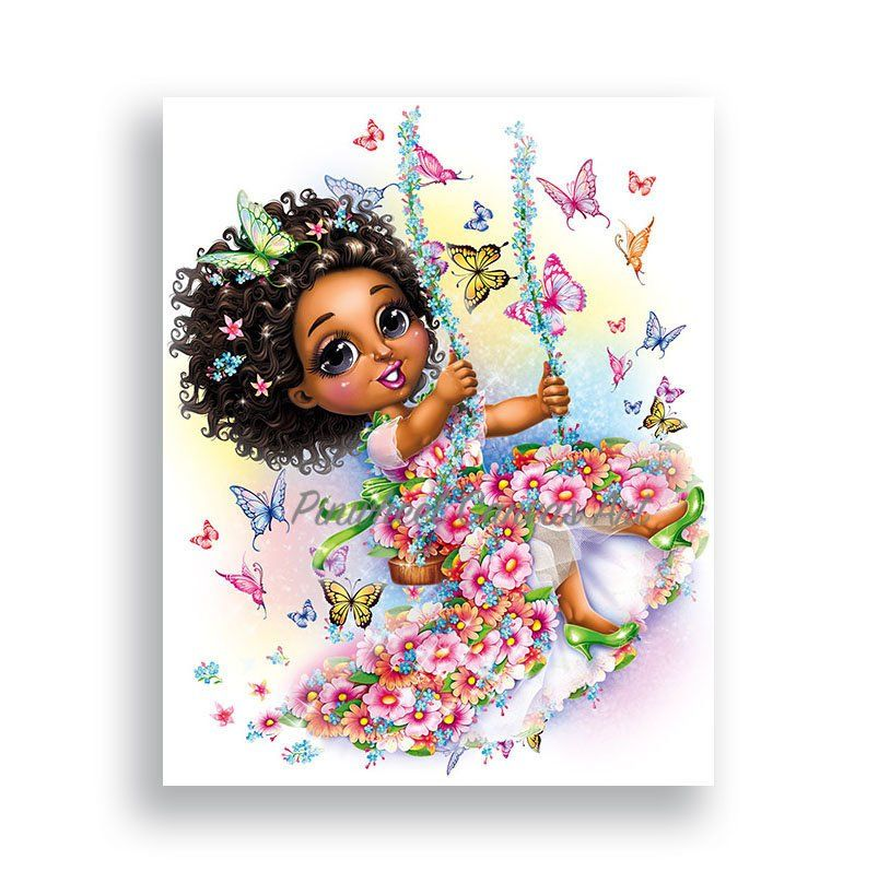 Butterfly Wall Art African American Girl Wall Art