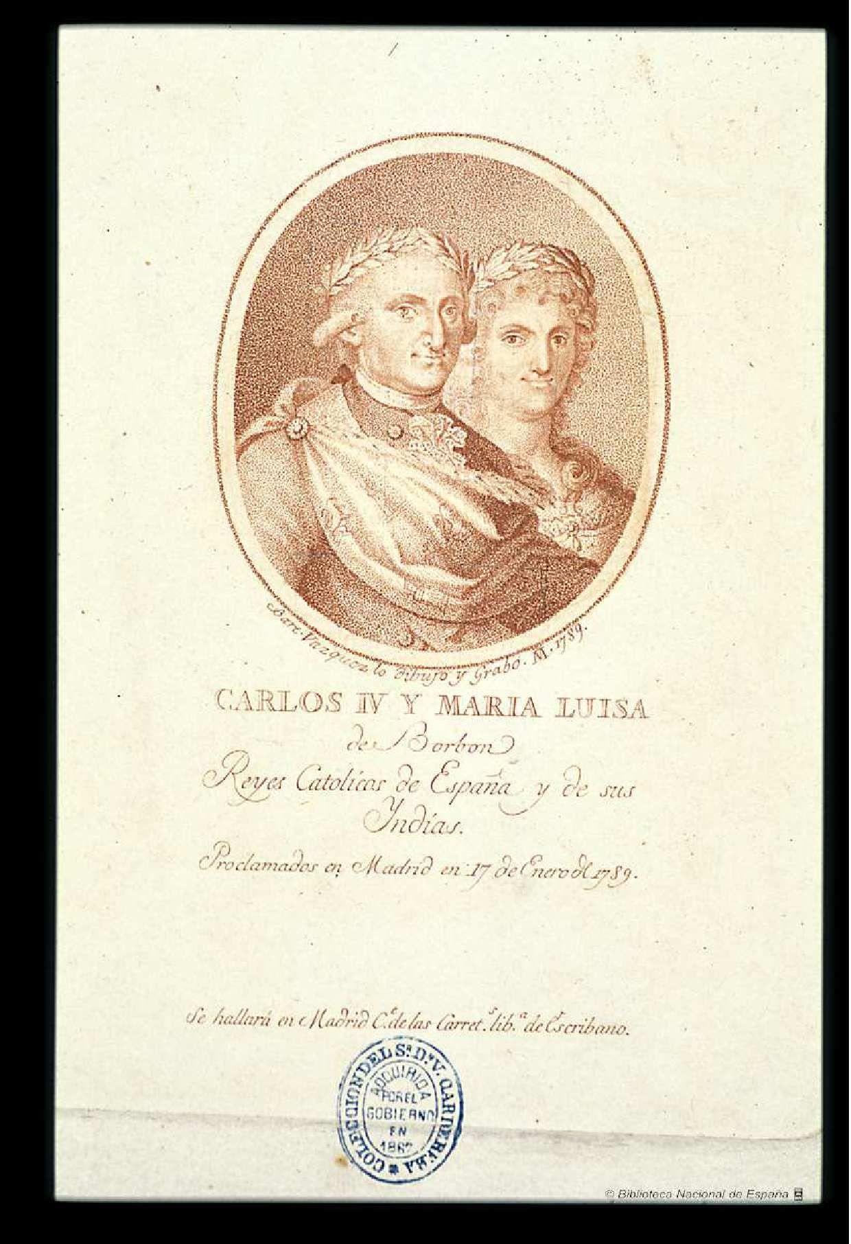 [Retrato de Carlos IV]. Vázquez, Bartolomé (1749-1802) — Grabado — ?