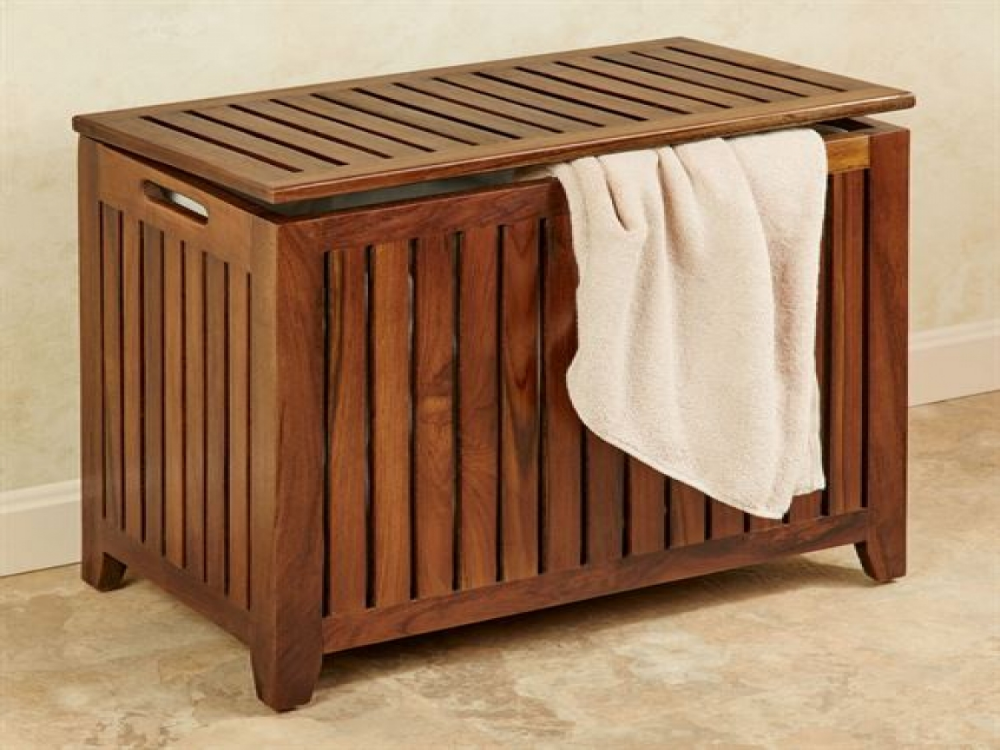Gameroom Decor Wood Laundry Hamper Bench Seat Clothes In 2020