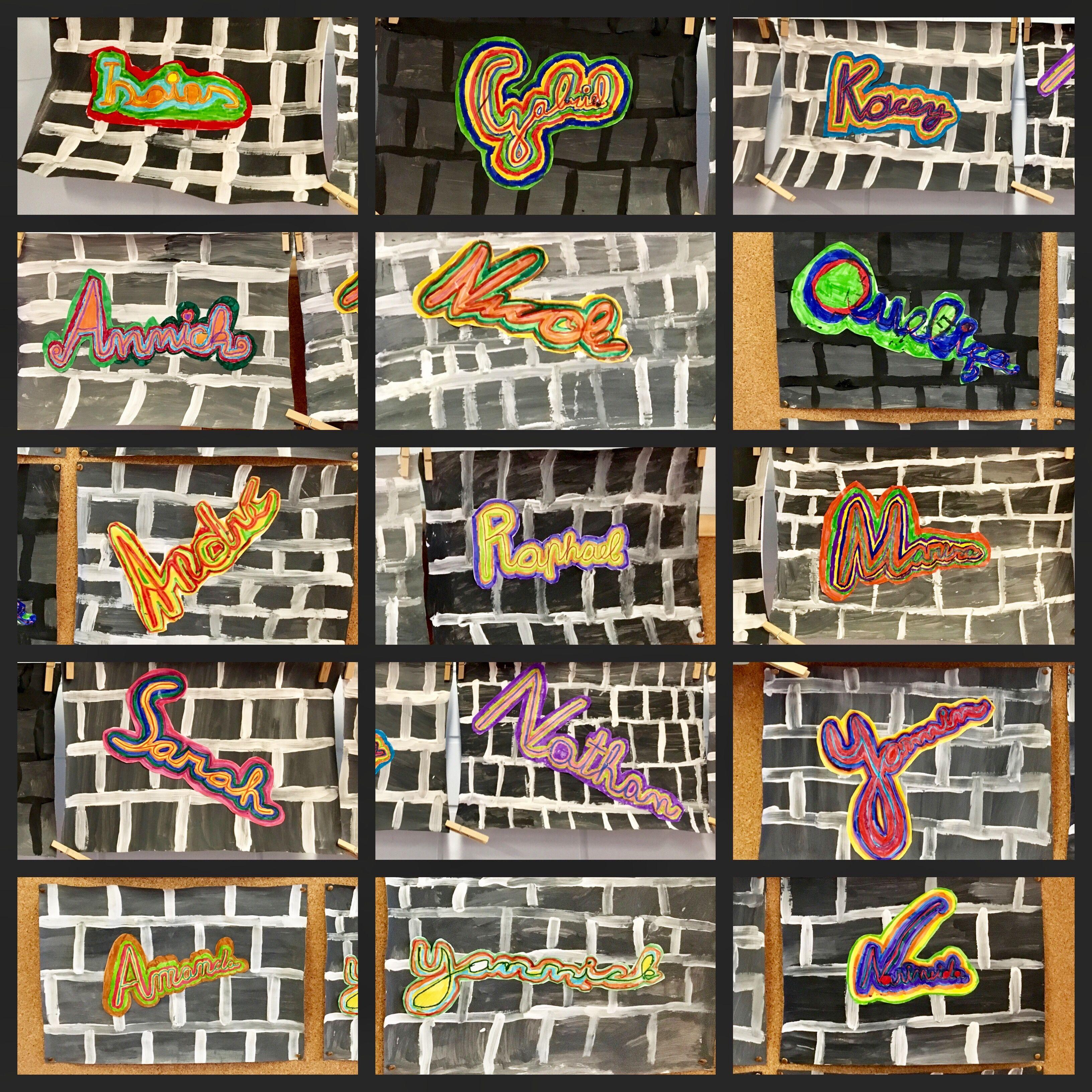 Graffiti Mauer Gemalt Mit Acrylfarbe. Namen In
