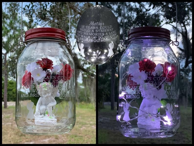 Grave lantern with solar light for loss of mother