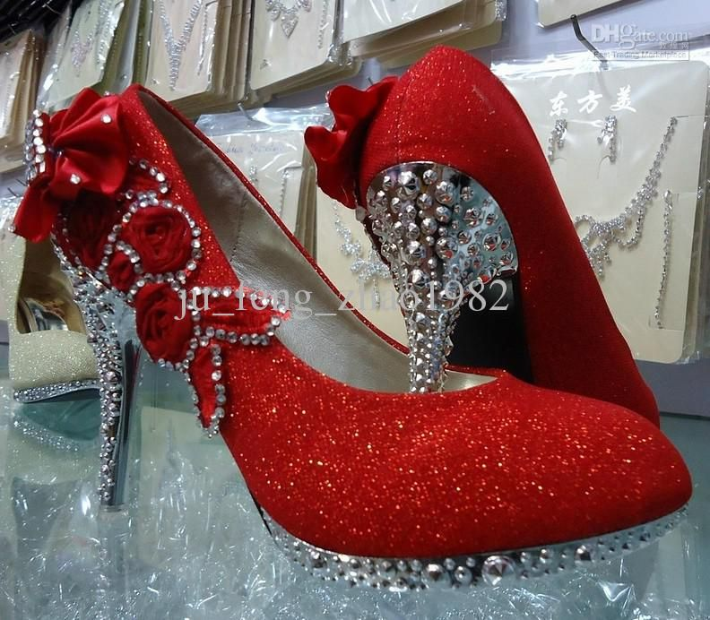 1f6c2067ee 2013 Bridal High-heeled Shoes Red Gold Silver Women s Formal ...