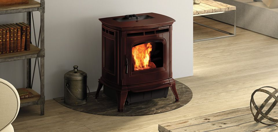 Absolute63 Pellet Stove Shown In Porcelain Majolica Brown Pellet Stove Stove Pellet