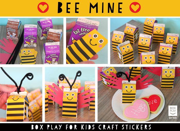 bee mine kindergarten craft repurposing school milk cartons into little bees love - Valentines For Kindergarten Class