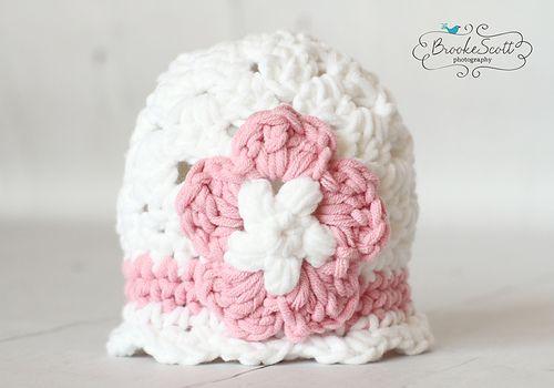 Ravelry: calicrochetfavs' Bulky Chunky Beanie Crochet Baby Hat with Flower