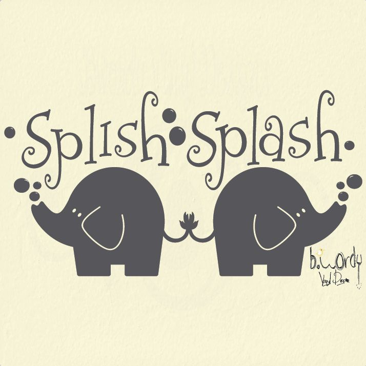 Splish Splash Elephants Vinyl Decal Wall Art Sticker Bathroom Custom Colors You Choose 12 00 V Elephant Bathroom Decor Decal Wall Art Vinyl Wall Decals