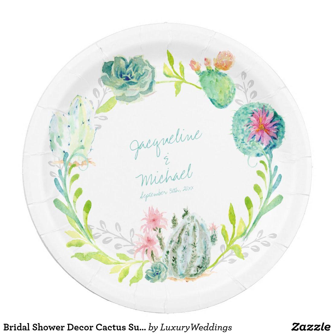 Bridal Shower Decor Cactus Succulent Flower Desert Paper Plate
