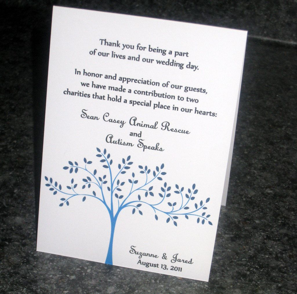 Tented Charity Wedding Favor Cards. $1.50, Via Etsy