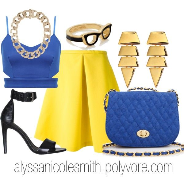 """""""Retro Yellow and Blue Outfit"""" by alyssanicolesmith on Polyvore"""