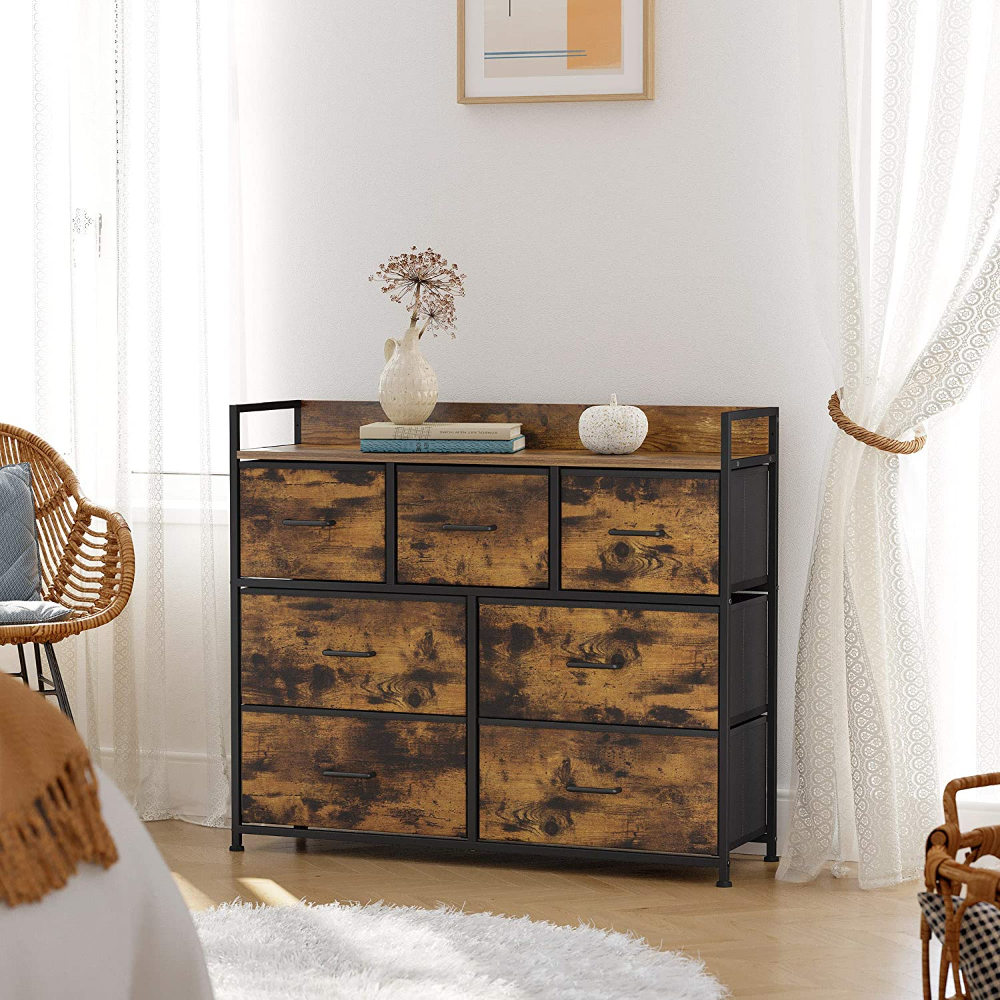 Drawer Dresser Chest Of Drawers Closet Storage Dresser 7 Fabric Drawers And Metal Frame With Handles Rustic Brown And Black Alsupersales In 2021 Fabric Drawers Closet Storage Dresser Drawers [ 1000 x 1000 Pixel ]