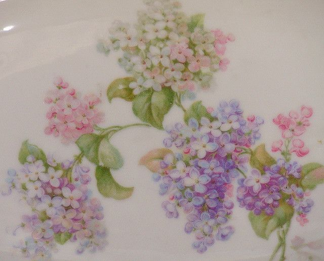 Vintage Lilac Dish Close Up China German Antique Shabby Chic Floral Pink Lavender Dish Plate Tra Pretty China China Painting Flower Bouquet Wedding