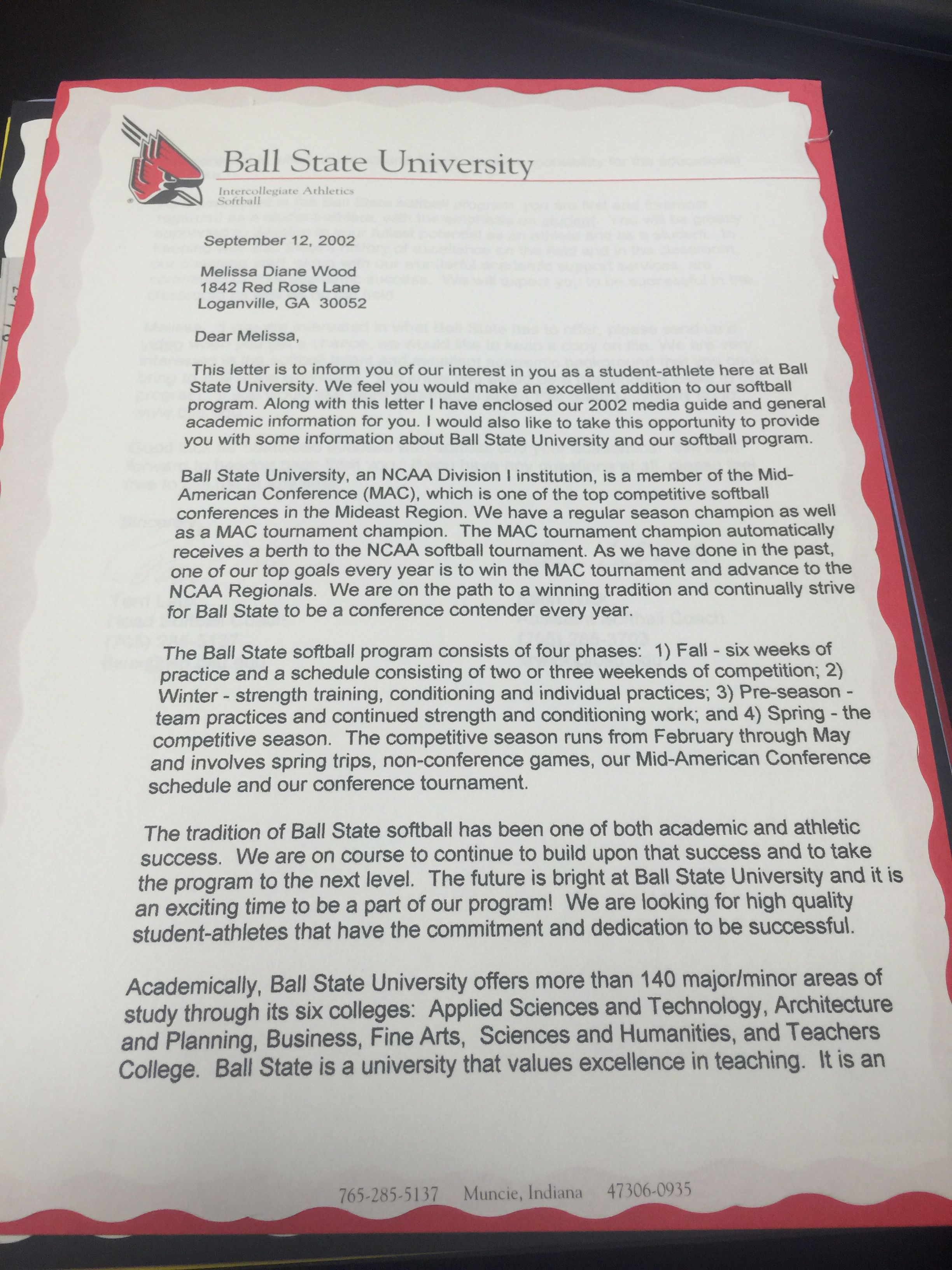 Ball State Recruiting Letters Letter Of Commitment