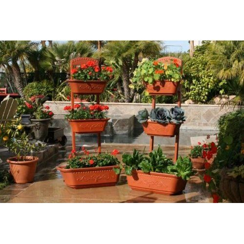Vegetable Planter Flower Planter Outdoor Planters   Self Watering Red  Planter Box By Monkey Pots Patio, Lawn U0026 Garden