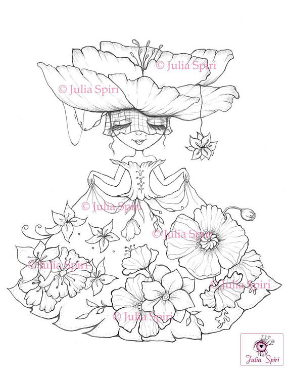 Coloring Pages, Digital stamp, Digi, Girl, Flowers