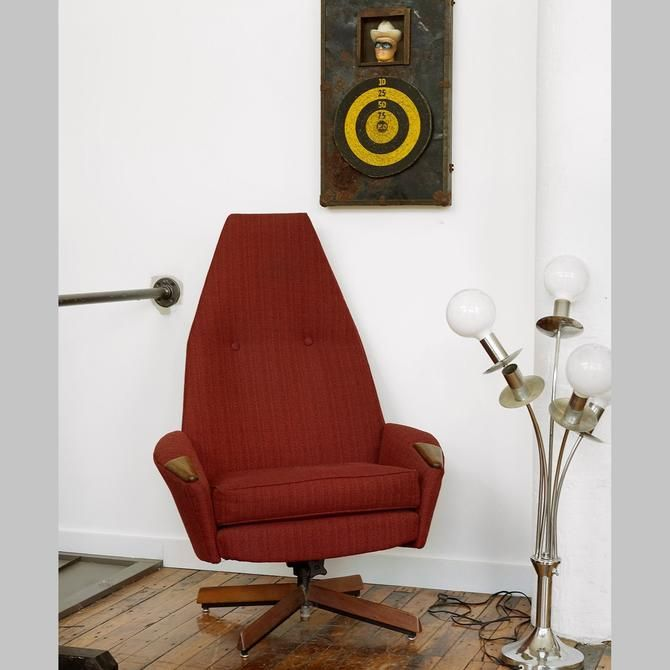 Mcm Talll Back Square Arm Accent Chair: Adrian Pearsall High Back Swivel Lounge Chair, Pearsall