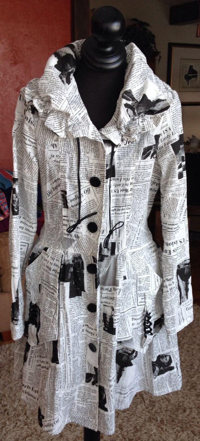 8fc2c98f6b9 I C by Connie K Woman's Jacket Cowel Neck Newspaper Print Black and White    eBay