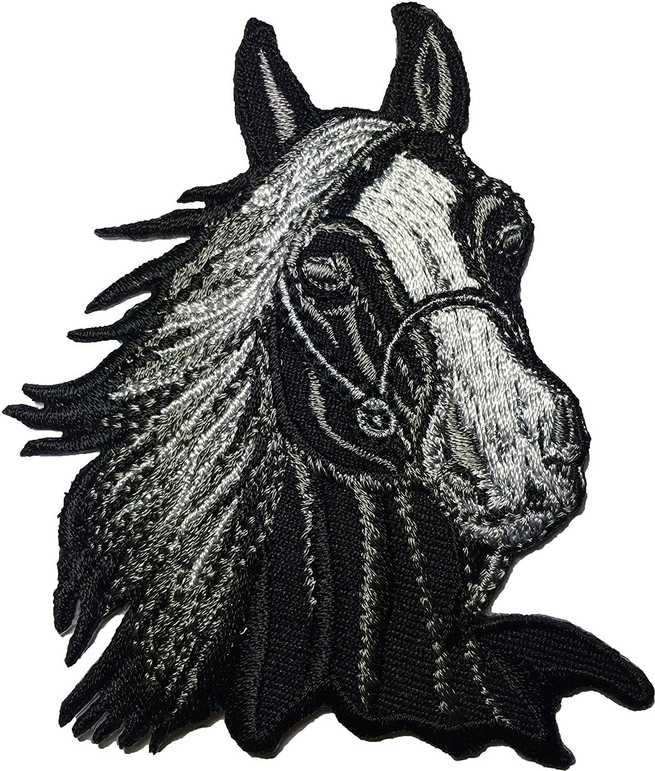 Embroidered HORSE HEAD IRON ON PATCH SEW ON PATCH