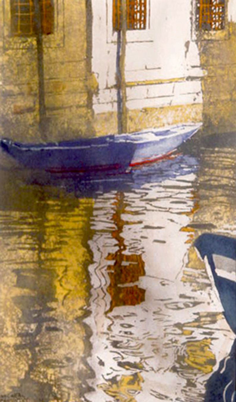 """shafts of light between buildings / canal (9) san marco 22"""" x 12"""" micheal zarowsky / watercolour on arches paper (private collection)"""