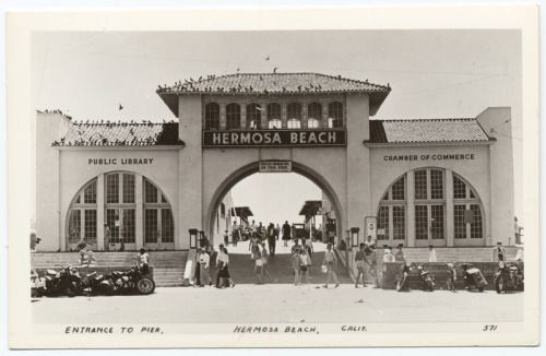 The sea, the sand, and a library = perfect day. Hermosa Beach Public Library, circa 1940. The south wall, lined with huge windows, looked out upon the emerald water to the green hills of Palos Verdes… - from Books and Notes, Los Angeles County Free Library.