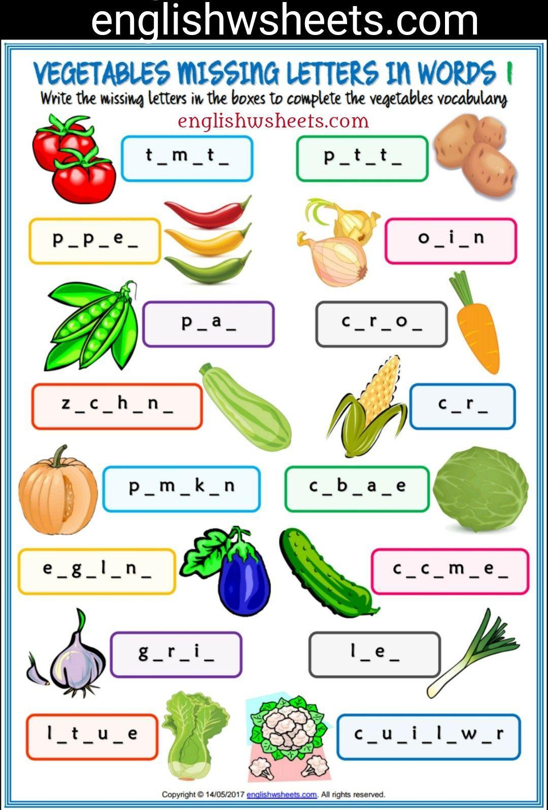 Vegetables Esl Printable Missing Letters In Words