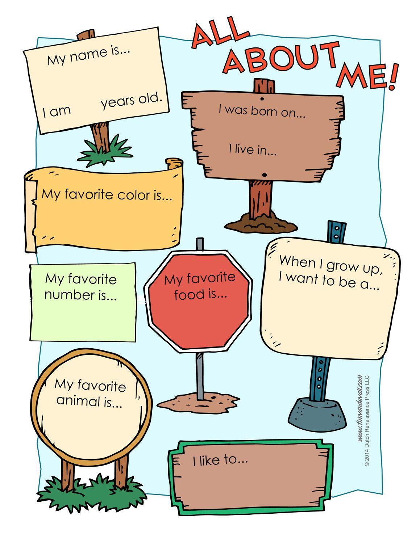All About Me Worksheetstake The Pen | Inglês para crianças | Pinterest