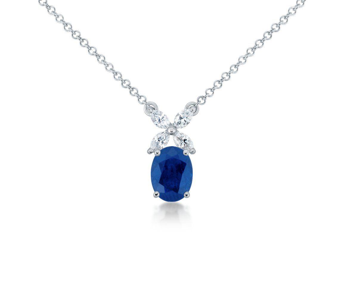 Sapphire and Marquise Diamond Pendant #BlueNile