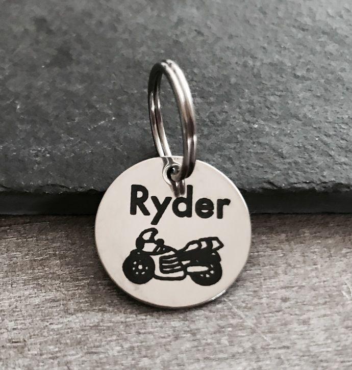 motorcycle motorbike biker custom engraved pet tag stainless