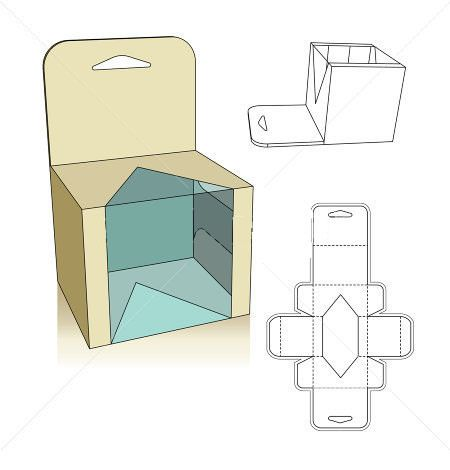 Window style carton box template display boxes display for Window design template