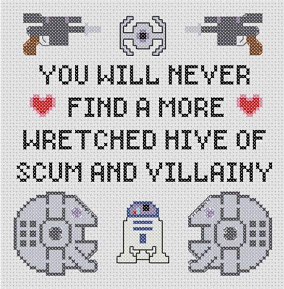 Star Wars Inspired Villainy Sampler Pattern   Punto de cruz, Bordado ...